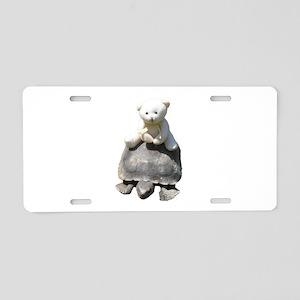 Toy stuffed bear riding a real turttle Aluminum Li