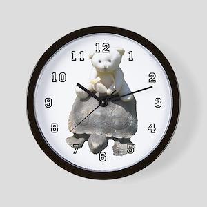 Toy stuffed bear / real turttle Wall Clock 10 in.