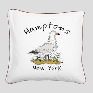Hamptons NY Seagull Square Canvas Pillow