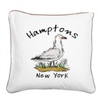 Hamptons NY Seagull Square Canvas Pillow