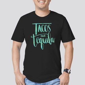 Tacos and Tequila Prin Men's Fitted T-Shirt (dark)