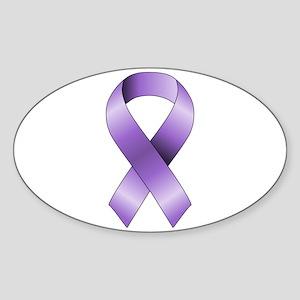 Purple Ribbon Sticker (Oval)
