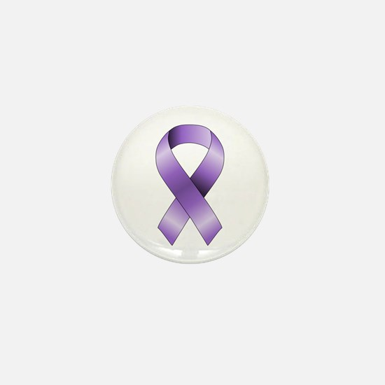 Purple Ribbon Mini Button