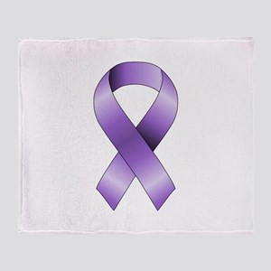 Purple Ribbon Throw Blanket