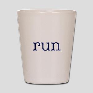 run_blue_sticker2 Shot Glass