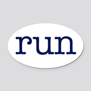 run_blue_sticker2 Oval Car Magnet