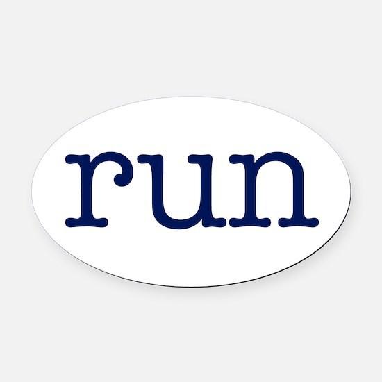 run_blue_sticker2.png Oval Car Magnet