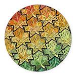 Celtic Leaf Tesselation Round Car Magnet