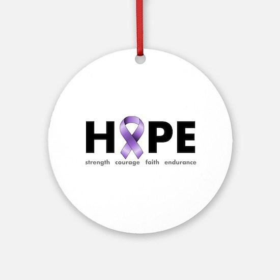 Purple Ribbon Hope Ornament (Round)