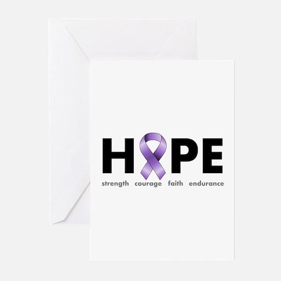 Purple Ribbon Hope Greeting Cards (Pk of 10)