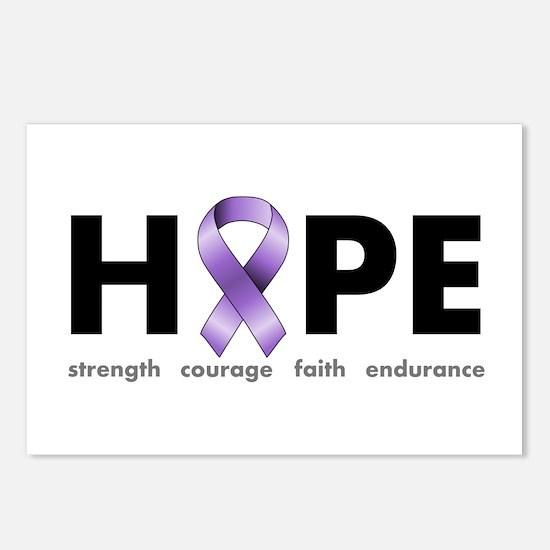 Purple Ribbon Hope Postcards (Package of 8)