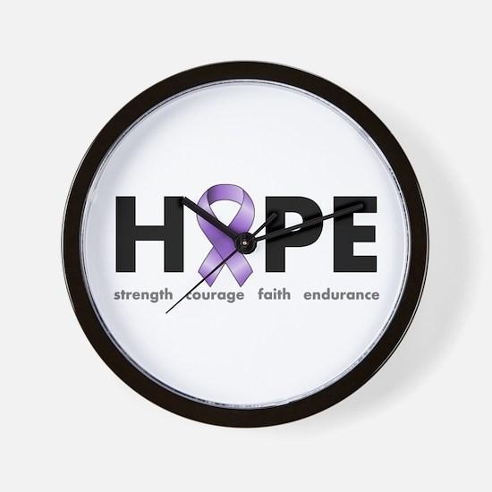 Purple Ribbon Hope Wall Clock