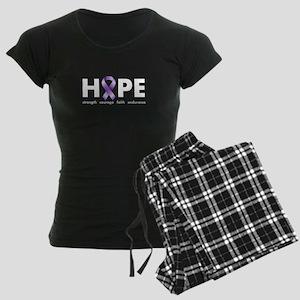 Purple Ribbon Hope Women's Dark Pajamas
