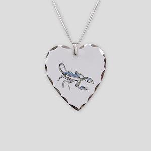 Chrome Scorpion 1 Necklace Heart Charm