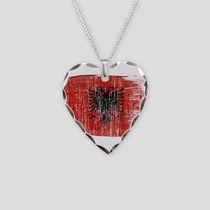 Albania Flag Necklace Heart Charm