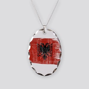 Albania Flag Necklace Oval Charm