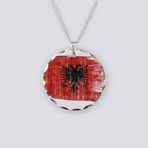 Albania Flag Necklace Circle Charm