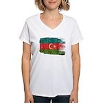 Azerbaijan Flag Women's V-Neck T-Shirt