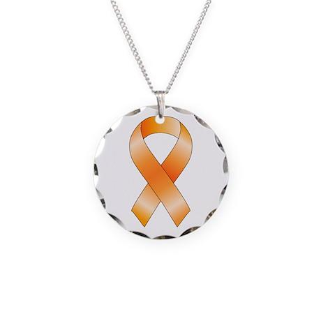 Orange Ribbon Necklace Circle Charm