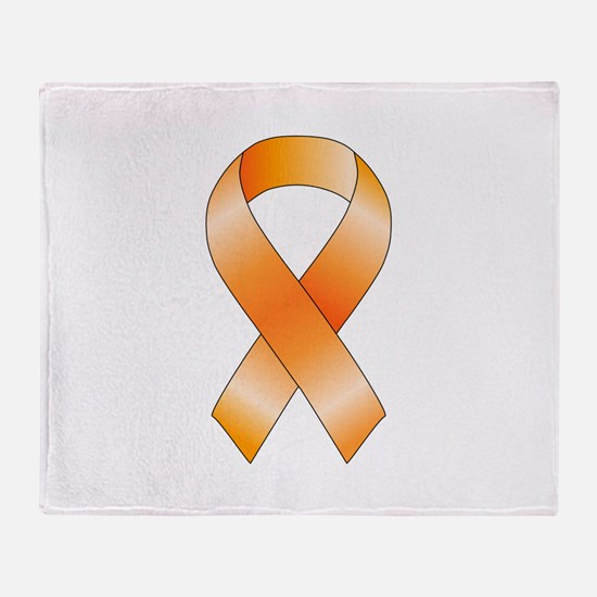Orange Ribbon Throw Blanket