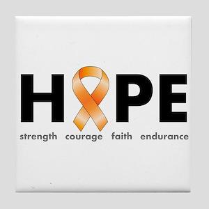 Orange Ribbon Hope Products Tile Coaster