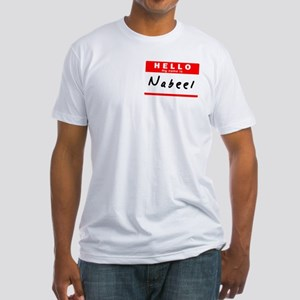 Nabeel, Name Tag Sticker Fitted T-Shirt