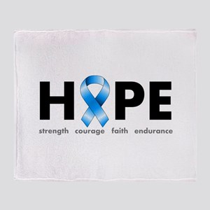 Blue Ribbon Hope Throw Blanket