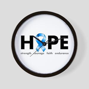 Blue Ribbon Hope Wall Clock
