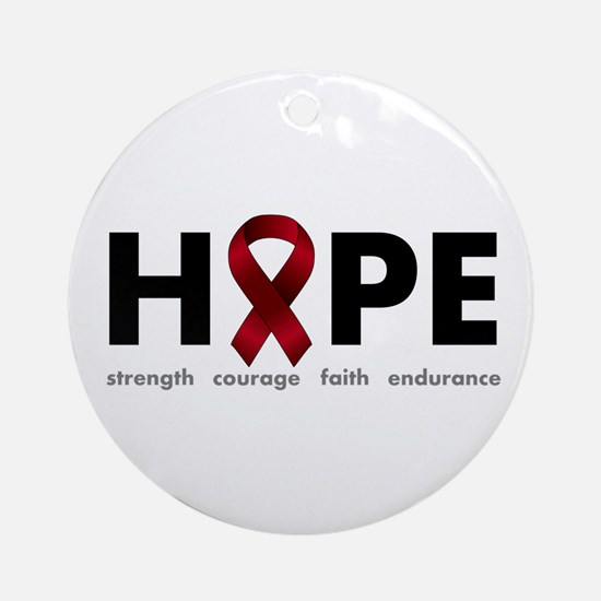 Burgundy Ribbon Hope Ornament (Round)
