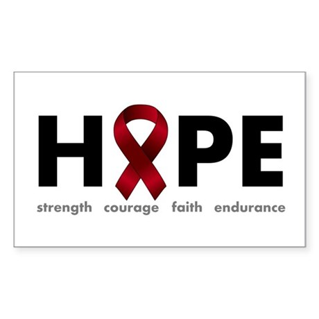 Burgundy Ribbon Hope Sticker (Rectangle)