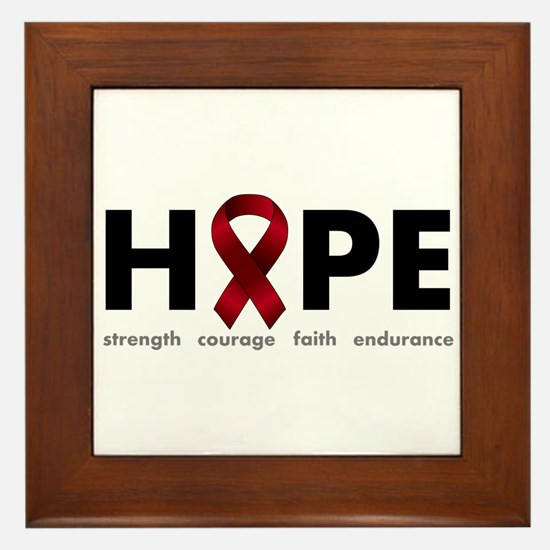 Burgundy Ribbon Hope Framed Tile
