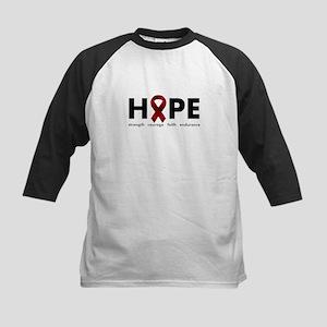 Burgundy Ribbon Hope Kids Baseball Jersey
