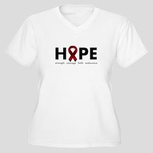 Burgundy Ribbon Hope Women's Plus Size V-Neck T-Sh