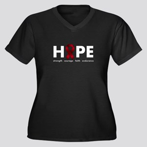Burgundy Ribbon Hope Women's Plus Size V-Neck Dark