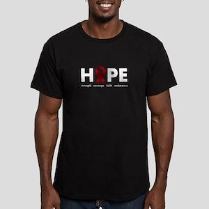 Burgundy Ribbon Hope Men's Fitted T-Shirt (dark)