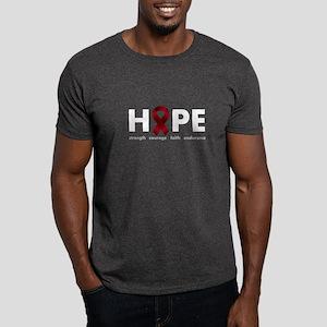 Burgundy Ribbon Hope Dark T-Shirt