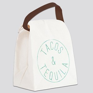 Tacos and Tequila Circle Print Canvas Lunch Bag