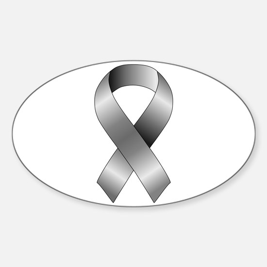 Grey Ribbon Sticker (Oval)