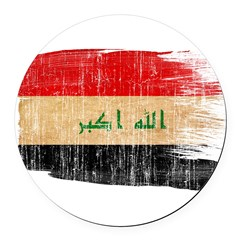 Iraq Flag Round Car Magnet