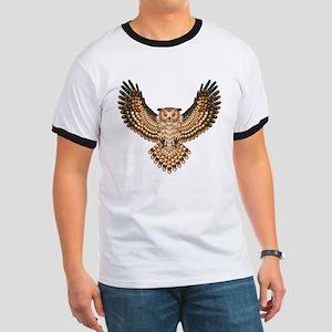Beadwork Great Horned Owl Ringer T