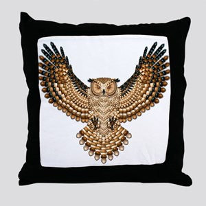 Beadwork Great Horned Owl Throw Pillow