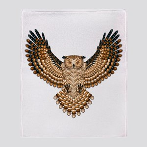 Beadwork Great Horned Owl Throw Blanket