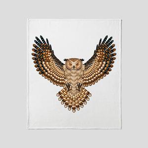 Beadwork Great Horned Owl Throw Blanket