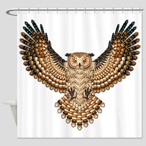 Beadwork Great Horned Owl Shower Curtain