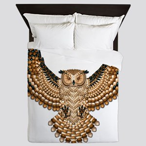 Beadwork Great Horned Owl Queen Duvet