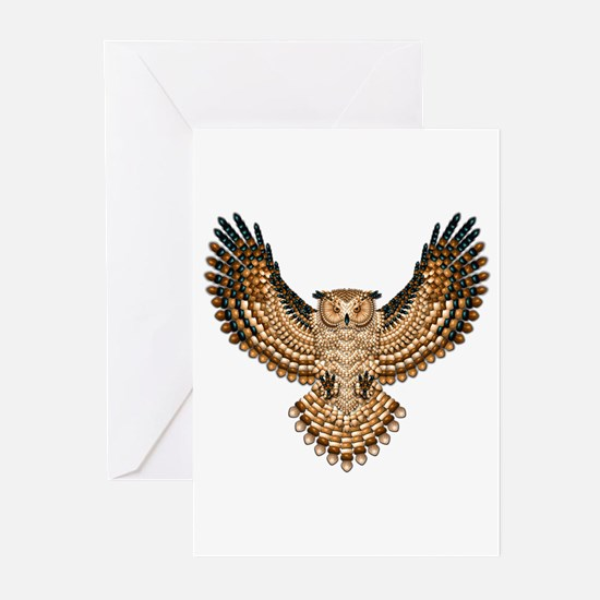 Beadwork Great Horned Owl Greeting Cards (Pk of 10