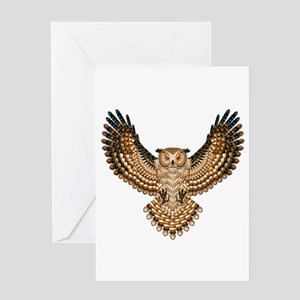 Beadwork Great Horned Owl Greeting Card