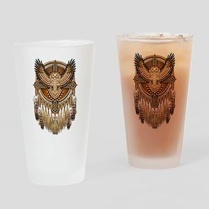 Native American Owl Mandala 1 Drinking Glass