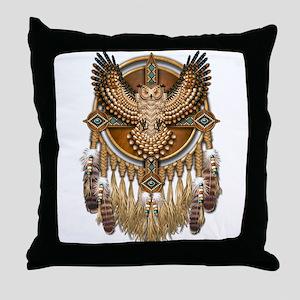 Native American Owl Mandala 1 Throw Pillow