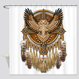 Native American Owl Mandala 1 Shower Curtain